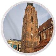 St. Elizabeth's Church Tower In Wroclaw Round Beach Towel