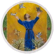 St. Francis And Birds Round Beach Towel