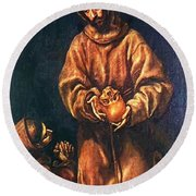 St Francis And Brother Rufus 1606 Round Beach Towel