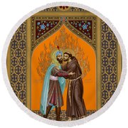 St. Francis And The Sultan - Rlsul Round Beach Towel