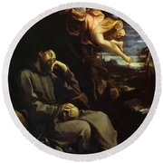 St Francis Consoled Round Beach Towel