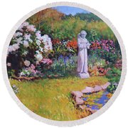 St. Francis In The Garden Round Beach Towel