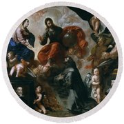St Francis Of Assisi In The Portiuncula With  Donors Antonio Contreras And Maria Amezqueta Round Beach Towel