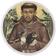 St. Francis Of Assisi - Rlfoa Round Beach Towel