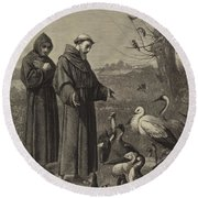 St Francis Preaches To The Birds  Round Beach Towel