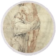 St Francis Rejecting The World And Embracing Christ Round Beach Towel by Bartolome Esteban Murillo