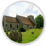 St George's Church At Arreton Round Beach Towel by Rod Johnson