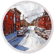 St Henri Depanneur Canadian Paintings Mini Montreal Masterpieces For Sale Petits Formats A Vendre  Round Beach Towel