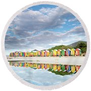 St James Beach Huts South Africa Round Beach Towel