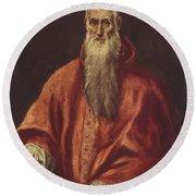 St Jerome As Cardinal Round Beach Towel
