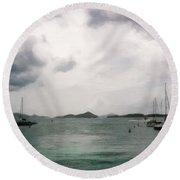 St John - Boats Islands Clouds Round Beach Towel