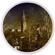 St. John The Baptist From The Rail Road Trestle In Manayunk Round Beach Towel