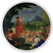 St John The Baptist Preaching Round Beach Towel