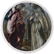St. John The Evangelist And St. Francis Of Assisi Round Beach Towel