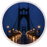 St Johns Bridge Shine Round Beach Towel