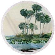 St John's River Florida Round Beach Towel