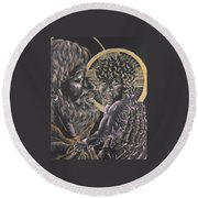 St. Joseph And The Child Jesus Round Beach Towel
