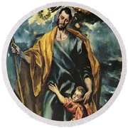 St Joseph And The Christ Child 1599 Round Beach Towel