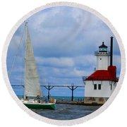 St. Joseph Lighthouse Sailboat Round Beach Towel