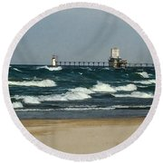St. Joseph Mi Lighthouse Round Beach Towel
