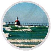 St. Joseph River Lighthouse Round Beach Towel