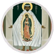 St. Juan Diego And The Miracle Of Guadalupe - Rljdm Round Beach Towel