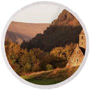 Morning At Glendalough, County Wicklow - Ireland Round Beach Towel by Barry O Carroll