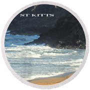 St Kitts Poster Round Beach Towel