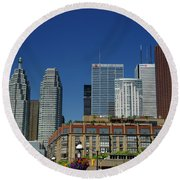 St Lawrence Market And Gooderham Flatiron Building With Cn Tower Round Beach Towel