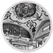St. Louis Cathedral 2 Monochrome Round Beach Towel