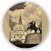St. Louis Cathedral And Statue Round Beach Towel