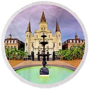 St. Louis Cathedral - New Orleans - Louisiana Round Beach Towel