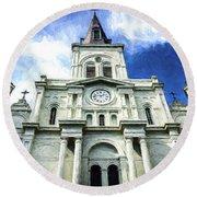 St. Louis Cathedral - Nola- Art Round Beach Towel