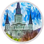 St. Louis Cathedral - Paint Round Beach Towel