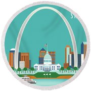St. Louis Missouri Horizontal Skyline Round Beach Towel