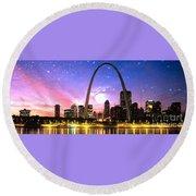 St Louis Skyline As Night Falls Round Beach Towel