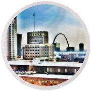 St Louis Skyline Round Beach Towel