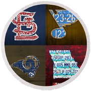 St Louis Sports Fan Recycled Vintage Missouri License Plate Art Cardinals Blues Rams Round Beach Towel