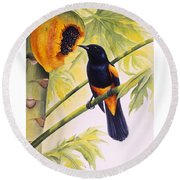St. Lucia Oriole And Papaya Round Beach Towel