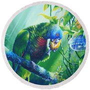 St. Lucia Parrot And Wild Passionfruit Round Beach Towel