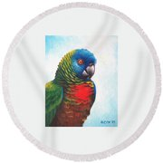 St. Lucia Parrot Round Beach Towel