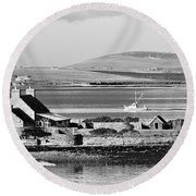 St. Margarets Hope, Orkney.    Black And White Round Beach Towel