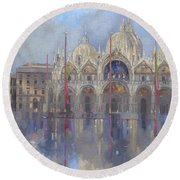 St Mark's -venice Round Beach Towel by Peter Miller