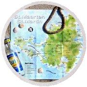 St. Martin St. Maarten Map Round Beach Towel