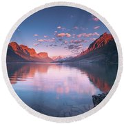 St Mary Lake In Early Morning With Moon Round Beach Towel