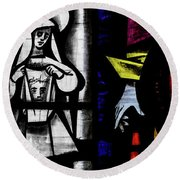 St Mary Redcliffe Stained Glass Close Up C Round Beach Towel