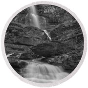 St Mary Triple Cascades - Black And White Round Beach Towel