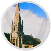 St Mary's Church, Studley Royal  Round Beach Towel