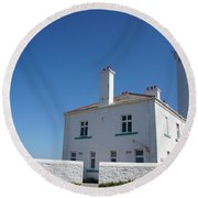 St. Mary's Island And The Lighthouse. Round Beach Towel