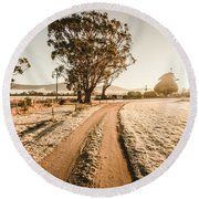 St Marys Winter Country Road Round Beach Towel
